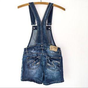 Girls 10 Silver Jean Short Overalls